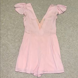 Blush pink romper lacy chest